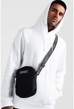 Mens Black MAN Tape Crossbody Bag