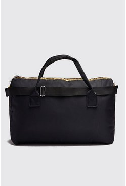Black MAN Gold Print Holdall