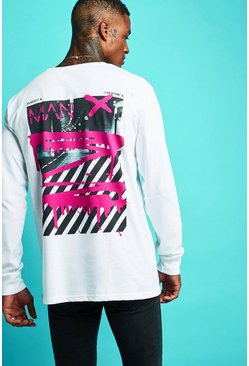 Oversized MAN Graffiti Long Sleeve T-Shirt, White, HERREN