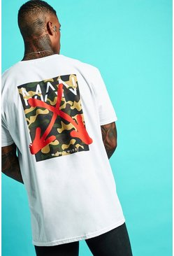 Mens White Oversized MAN Graffiti Camo Back Print T-Shirt