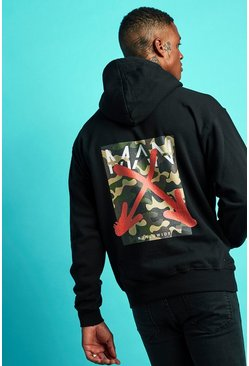 Oversized MAN Graffiti Back Print Hoodie, Black, HOMMES