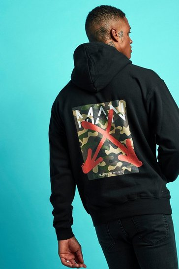 Mens Black Oversized MAN Graffiti Back Print Hoodie