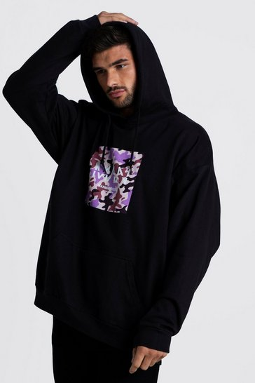 Mens Black MAN Oversized Camo Print Hoodie