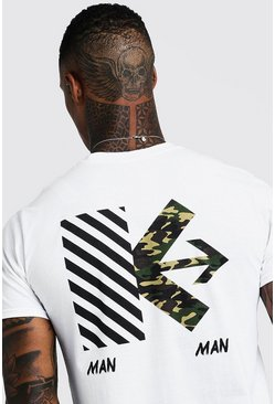Mens White MAN Back Print Camo T-Shirt