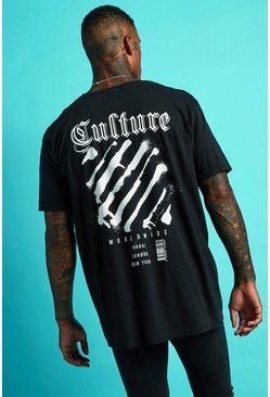 Mens Black Oversized Back Print Graffiti Worldwide T-Shirt