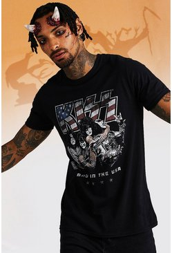 Mens Black Kiss License T-Shirt