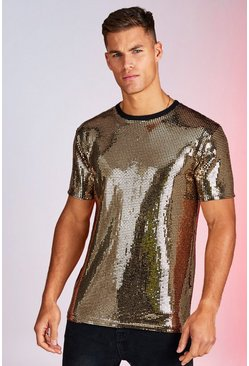 Mens Gold Square Sequin Party T-Shirt