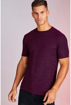 Herr Purple Metallic Stripe Party T-Shirt