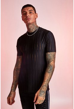 Mens Black Semi Sheer Stripe Party T-Shirt