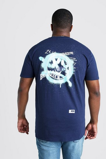 Mens Navy Big And Tall Brooklyn Smiley Back Printed T-Shirt