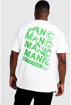White Big And Tall MAN Official Print T-Shirt
