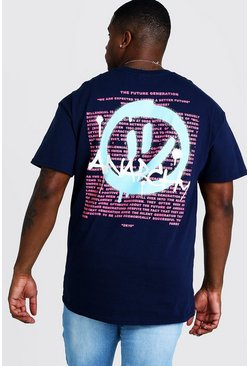 Mens Navy Big And Tall T-Shirt With Anarchy Print
