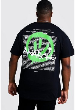 Mens Black Big And Tall T-Shirt With Anarchy Print