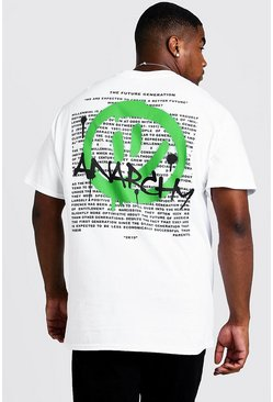 Mens White Big And Tall T-Shirt With Anarchy Print