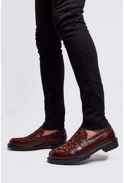 Oxblood Leopard Vamp Loafer, Burgundy