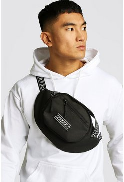 Mens Black MAN Tape Multi Pocket Bumbag