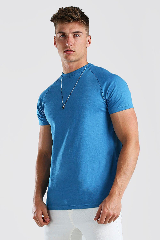 mens longline raglan crew neck t-shirt - blue