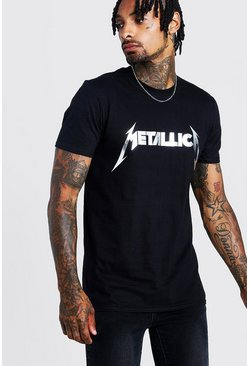 Black Metallica Silver Foil Print License T-Shirt