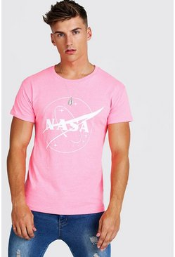T-shirt ajusté NASA officiel, Rose, Homme