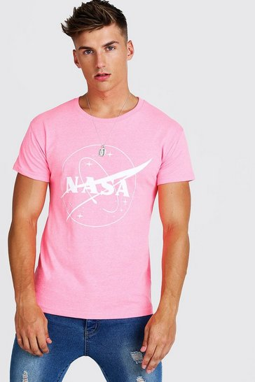 Mens Pink Nasa License Fitted T-Shirt