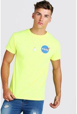 Mens Yellow Nasa License Fitted T-Shirt