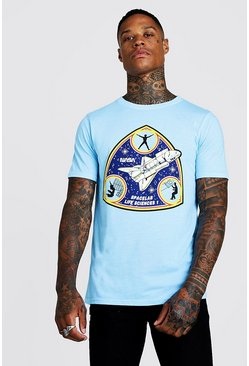Mens Aqua Nasa License Fitted T-Shirt