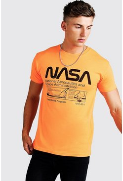 Mens Orange Nasa License Fitted T-Shirt