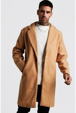 Mens Camel Wool Look Overcoat