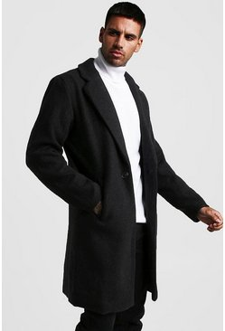 Mens Black Wool Look Overcoat