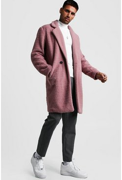 Mens Dusky pink Wool Look Overcoat