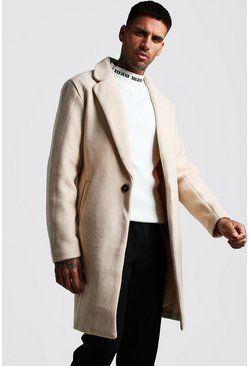 Mens Nude Wool Look Overcoat