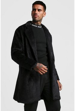Mens Black Faux Fur Double Breasted Overcoat