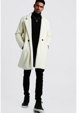 Mens Off white Faux Fur Double Breasted Overcoat