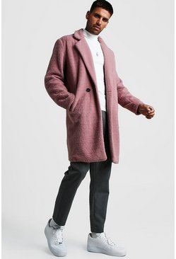 Mens Dusky pink Faux Fur Double Breasted Overcoat