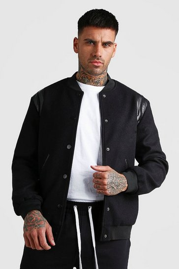 Black Wool Look Bomber Jacket With PU Detail