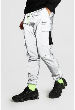 Mens Grey MAN Reflective Shell Cargo Joggers