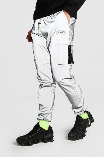 Grey MAN Reflective Shell Cargo Joggers