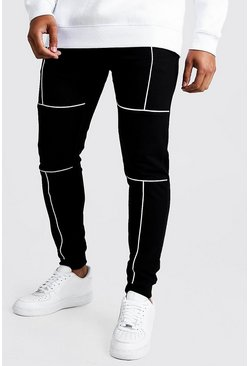 Mens Black Original MAN Joggers With Reflective Piping