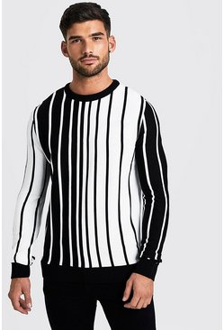 Herr White Long Sleeve Vertical Stripe Knitted Jumper