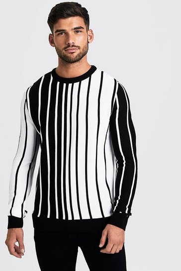 White Long Sleeve Vertical Stripe Knitted Jumper