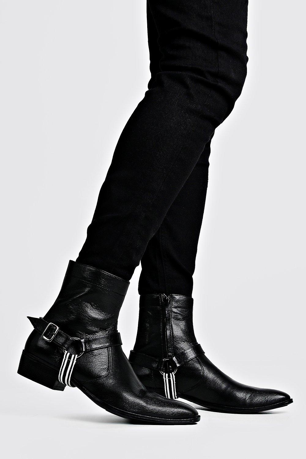 mens faux leather tape harness cuban chelsea boots - black