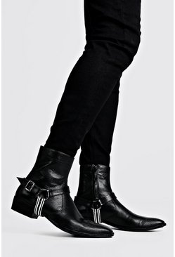 Black Faux Leather Tape Harness Cuban Chelsea Boots