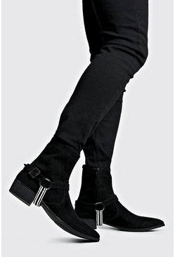 Mens Black Faux Suede Tape Harness Cuban Chelsea Boots