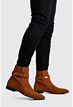 Mens Tan Wrap Around Faux Suede Chelsea Boots