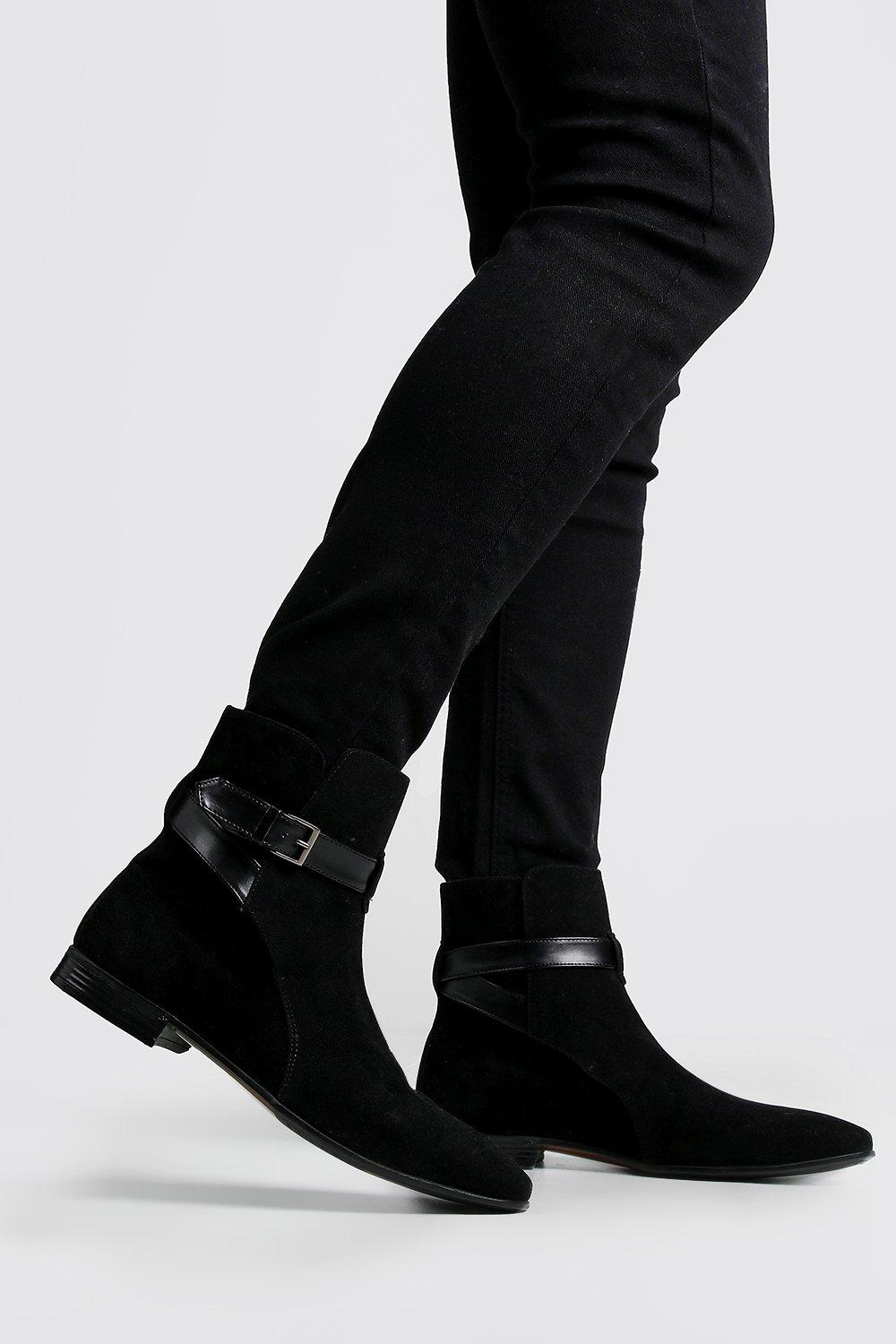 mens wrap around faux suede chelsea boots - black