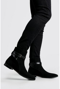 Herr Black Wrap Around Faux Suede Chelsea Boots