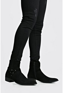 Black Harness Side Faux Suede Chelsea