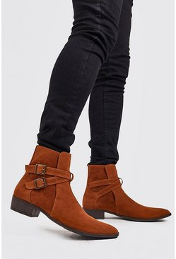 Faux Suede Double Buckle Chelsea, Rust