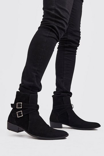 Black Faux Suede Double Buckle Chelsea