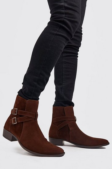 Dark brown Faux Suede Double Buckle Chelsea